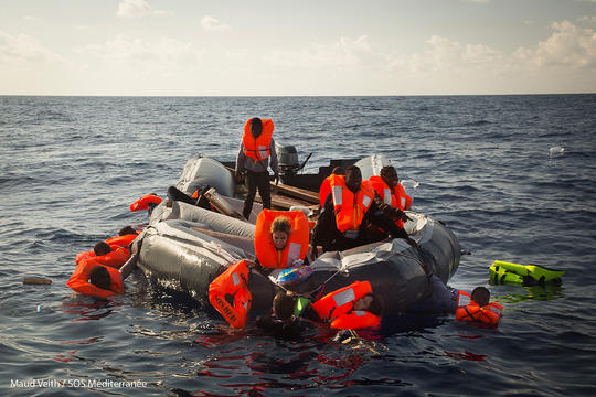 Rescue of a second rubber boat taking water