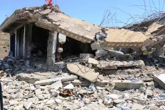 Haydan streets and buildings destroyed by airstrikes.