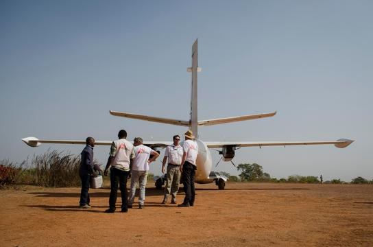 MSF team traveling by plane to Paoua