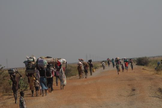 Displaced people walking from Bentiu to Leer, South Sudan.