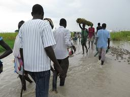 Bentiu South Sudan - Floods inside the UN Internally Displaced People's camp
