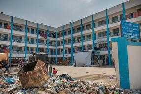 camp for displaced in a school from UNRWA in Beit Hanoun