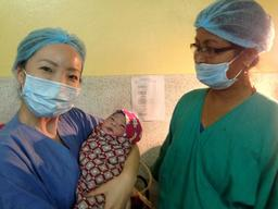 First baby delivered in  Bhaktapur, Nepal