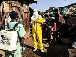 Watsan Team disinfects Freetown Houses