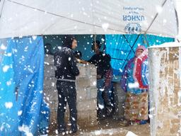 Iraq - Snowfall on Domeez refugee camp