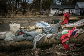 Clothes belonging to refugees from South Sudan