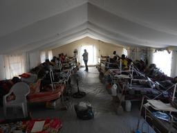 IPD post-op care tents in Bangui's Community Hospital