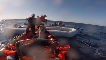 Broll - 99 Survivors Rescued Sinking in Mediterranean Sea - Many Presumed Drowned