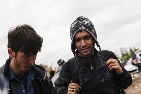 Refugees At The  Bapska Border in Serbia