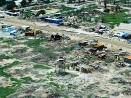 Aerial view on ruins of Bentiu