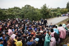 Refugees At The Bapska Border Crossing in Serbia