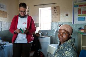Mamotsieleli Molofotsane with Dr Sylvie Jonckheere at MSF supported health center, Ha Seng, Lesotho