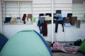 Outside Kara Tepe Camp in Lesbos, Greece.
