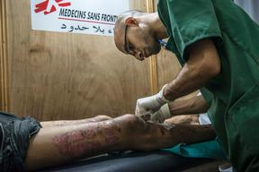 Gaza, patients and staff in the postoperative clinic
