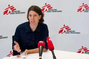 Press conference of a nurse in MSF conference