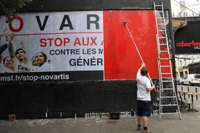 France, Paris, ThomThom Street-art Novartis case, Samantha Maurin/MSF, July 2012