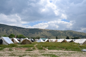 Refugees' tents in Katsikas camp, Greece