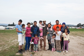Family in refugee camp near Polykastro