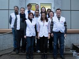 Group picture of MSF team in Artemovsk