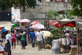 Sanitation activities in urban slum, Haiti
