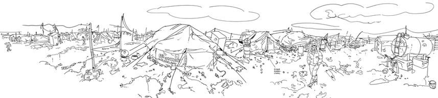 Domiz refugee camp panorama by Olivier Kugler