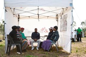 Providing health education at the site of MSF Mobile HIV testing unit in KwaZulu Natal.