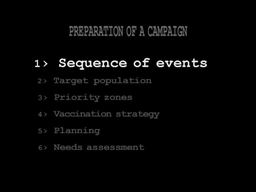 Organising an Emergency Mass Vaccination Campaign: 2 - Preparation of a Campaign