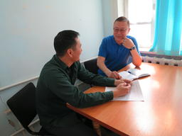 MSF Field and Advocacy Officer Alpamis Babaniyazov and Counsellor Kural in Nukus, Uzbekistan