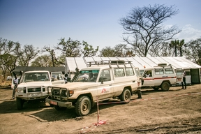 An MSF vehicle outside a clinic