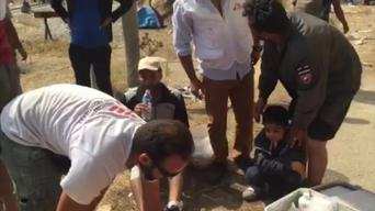 BROLL: Chaotic scenes at Greece/FYROM border: MSF receives 10 people injured by stun grenades