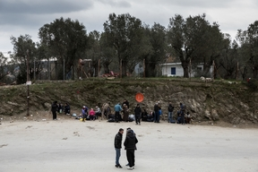 Refugees in Moria camp and Mytilene's port in Lesbos.