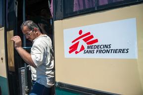 MSF Chartered Bus in Lesbos, Greece.