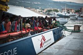 MSF team at disembarkation in Vibo Valencia