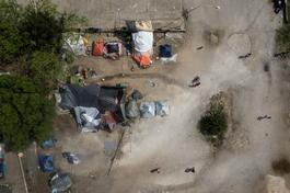 Aerial View of Refugee camp near Evzoni