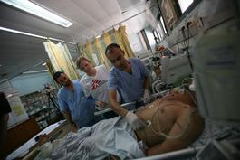 Palestinian Territories, bedside teaching  + intensive care training in hospitals in Gaza, Mustafa Hassona , June 2013.