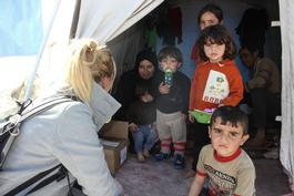 Syrian refugees in Akcakale camp, Turkey